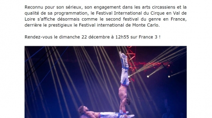 Le 3ème festival international du cirque 2019 sur FR3
